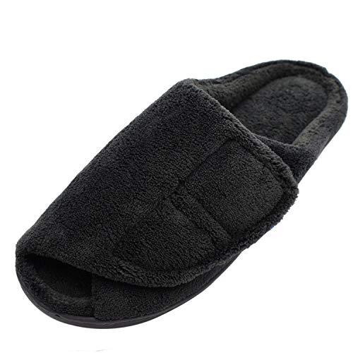 W&Lesvago Mens Extra Wide No-Slip Edema Slippers - Adjustable Memory Foam Indoor Slippers (9.5-10, Black)