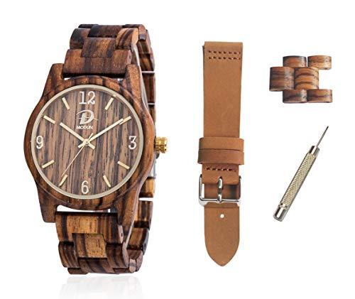 Orologio in Legno, orologio con display analogico con cinturino in pelle intercambiabile | Cassa in legno di zebra da 40 mm + cinturino in legno zebra