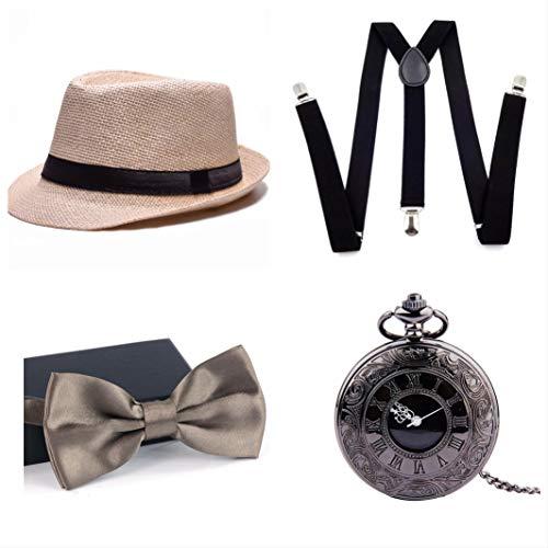 thematys® Cappello Gangster Mafia al Capone + Farfallino + Bretelle + Orologio da Taschino - Set Costumi Anni '20 per Donne e Uomini - Perfetto per Carnevale (8)