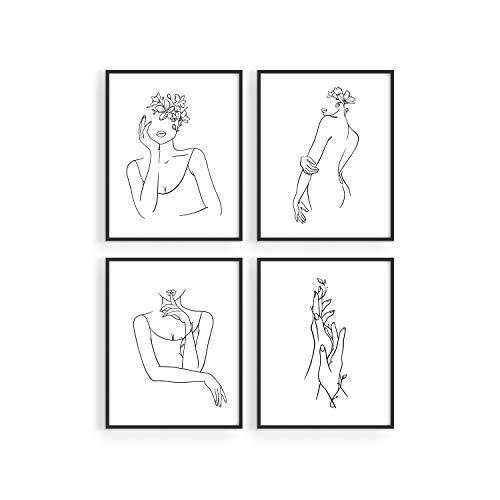 HAUS AND HUES Minimalist Line Art Wall Decor Set of 4 Minimalist Wall Art Female Poster | Line Drawing Wall Art Women Body | Line Drawing Print | Sketch Poster (8'x10', UNFRAMED)