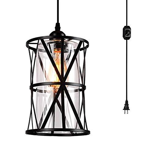 E27 Vintage Colgante Luz Clear Shade Con Interruptor Y Enchufe Edison Lámpara Colgante 1 Luz DIY Lámpara De Araña
