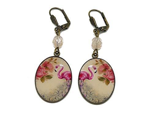 Pendientes de resina rosa flamenco flores de latón cuentas de bronce regalos regalos de navidad ceremonia de boda aniversario de boda invitados día de la madre
