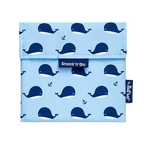 Roll'eat - Snack'n'Go Animals | Bolsa Merienda Infantil Porta Sandwich Reutilizable y Ecológico sin BPA, Whales