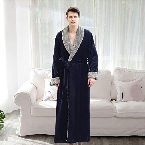 ZIXIYAWEI Bademantel Herren Herren Bademantel Edle Warme Dicke Flanell Roben Winter Locker Weiche Homewear Mit Bund Nachtwäsche-Navy_L