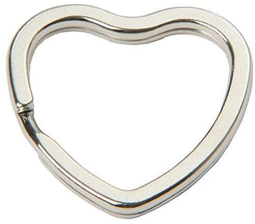 mai® Schlüsselringe in Herzform - 10 Stück, 33 mm, glanzvernickelt und gehärtet, silberfarben