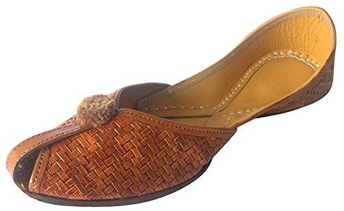 Step n Style Damen Flache Hausschuhe Sandalen Kolhapuri Chappal Khussa Schuhe Indianer JUTIS, Braun - braun - Größe: 38.5 EU