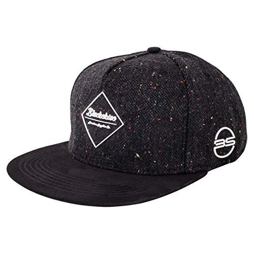 Blackskies Hades Snapback Cap | Herren Damen Schirm Premium Baseball Mütze Kappe Wolle - Schwarz