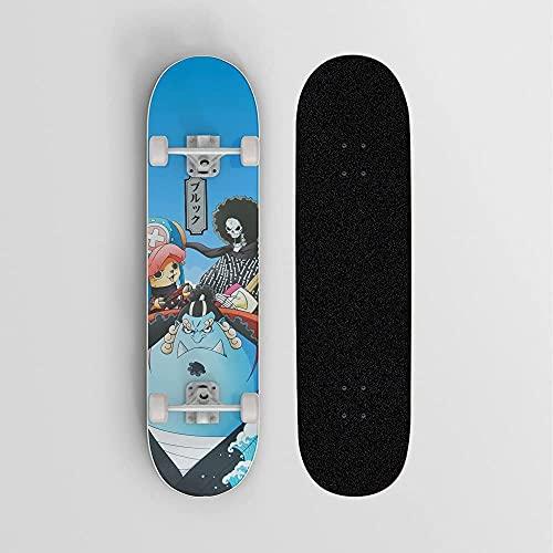 One Piece Tony Tony Chopper Jinbe Blue Fondo Anime Skate, Mini Cruiser, Skateboard De Cubierta De Arce De 7 Capas, Rodamiento De Carga 100 Kg, Scooter De La Calle Del Camino Para Principiantes