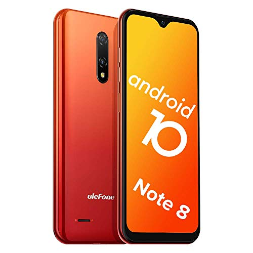 Teléfono Móvil Libre, Ulefone Note 8 Android 10 3G Smartphone Libre, 2GB RAM 16GB ROM (128GB SD) Smartphone, Pantalla 5.5' Water-Drop Screen Movil, 5MP + 2MP + 2MP, Dual SIM, Face ID, GPS (Naranja)