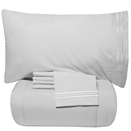 Sweet Home Collection Luxury 5 Piece Bed-In-A-Bag Solid Color Comforter and Sheet Set, Queen, White