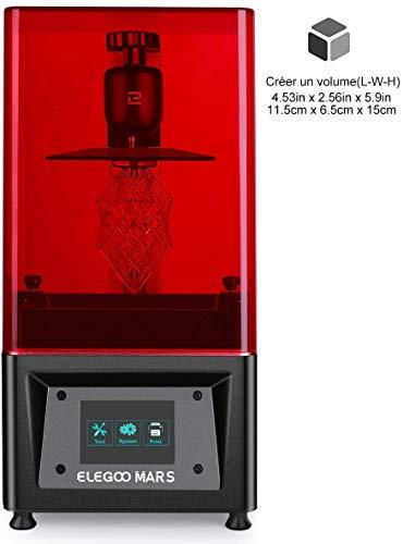 ELEGOO Stampante 3D LCD per Fotopolimerizzante MARS UV con Schermo a Colori Smart Touch da 3,5' Stampa Offline 3D Pinter Dimensione di stampa 11.56cm (L) x 6.5cm(W) x 15cm(H)