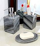 KLEO - Juego de Accesorios de baño de Piedra Natural - Accesorios de baño Incluye dispensador de jabón, Soporte para cepillos de Dientes, jabonera (Gris, 3 Unidades)
