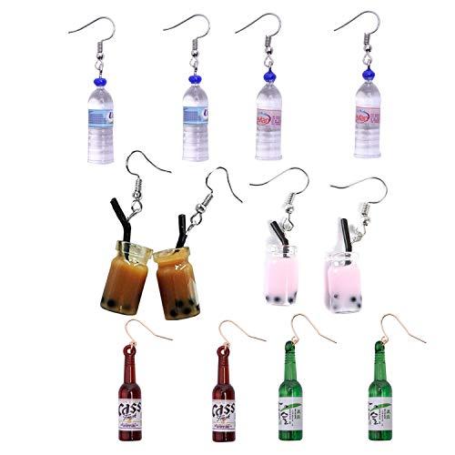JinYu - 6 pares de pendientes de botella de agua acrílica, diseño de botella de agua con perlas y leche, coloridos pendientes de botella de cristal para niñas y mujeres