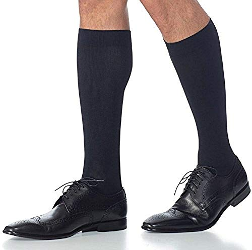 Sigvaris Midtown Microfiber 823CXLM99-S 30-40 mmHg Midtown Microfiber Mens Closed Toe Knee Highs with Silcone Beaded Grip-Top44; Black44; Extra Large-Long