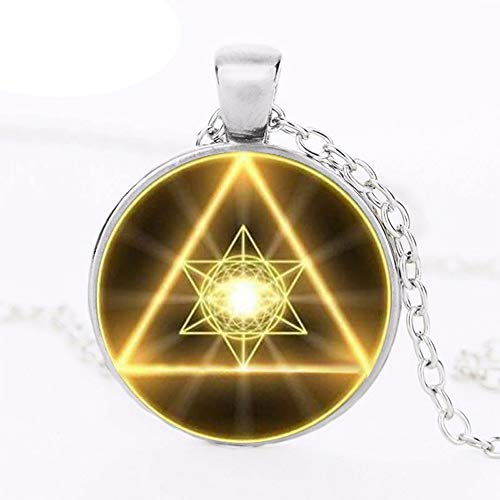 High Quality Gold Sacred Geometry Cabochon Glass Tibet Round Chain Pendant Necklace