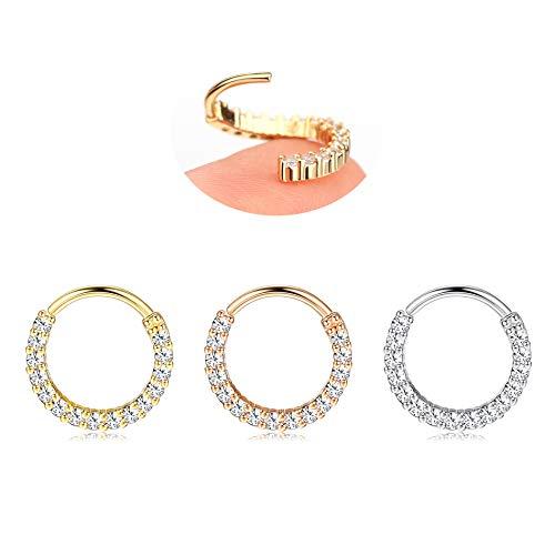 Thunaraz 20 Gauge Stainless Steel Helix Cartilage Earrings CZ Hinged Clicker Hoop Nose Rings for Women Men Body Piercing Jewelry 6mm 8mm 10mm
