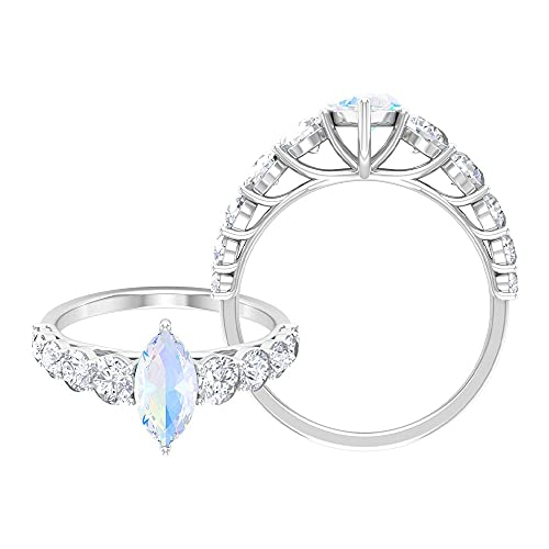 Anillo de compromiso solitario de piedra lunar arco iris de corte marquesa de 5 x 10 mm, anillo de compromiso de moissanita (calidad de reliquia), oro blanco de 14 quilates, tamaño: UK Z