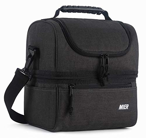 MIER Adult Lunch Box Insulated Lunch Bag Large Cooler Tote Bag for Men, Women, Double Deck Cooler (Dark Grey, Large)
