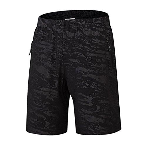 emansmoer Homme Camo Loose été Respirant Quick Dry Pantalon Court Sport Shorts de Course Jogging Basketball Football (XX-Large, Noir)