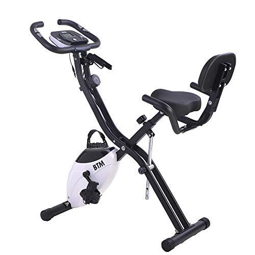 Autoshoppingcenter Cyclette da Casa Pieghevole Bici Fitness F-Bike Home Trainer Magnetico Verticale Orizzontale 10 Resistenza Altezza Regolabile Bianco [EU Stock]