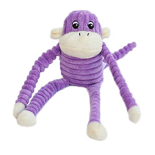ZippyPaws - Spencer The Crinkle Monkey Dog Toy, Squeaker and Crinkle Plush Toy - Purple, Small