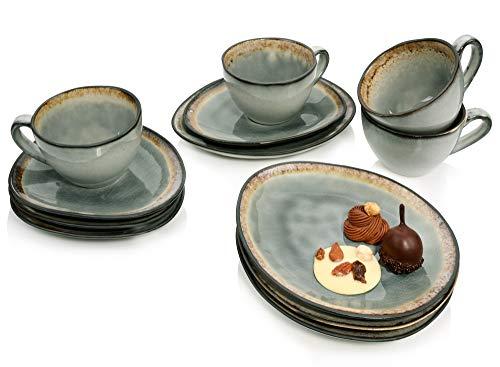 Sänger Kaffeeservice Capri in Grau aus Steingut 12 teilig für 4 Personen - Füllmenge der Tassen 300 ml - Becherset im Vintage-Stil, Geschirrset