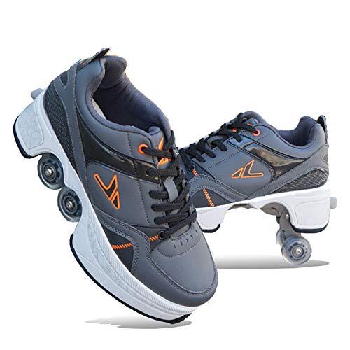 SHANGN Rollschuhe Verstellbar Kinder Inline-Skate, 2-in-1-mehrzweckschuhe, Verstellbare Quad-rollschuh-Stiefel,Grey-40