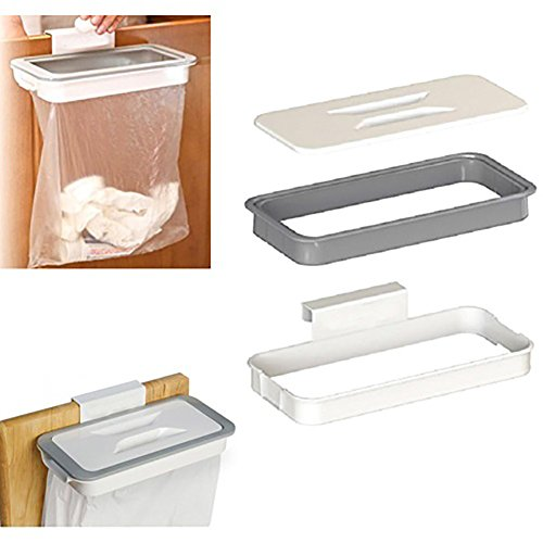 Over The Cabinet Door Garbage Holder Wastebaskets Trash Rack Cupboard Storage Hanger Waste Bins Basket Hanging Trash Can Rubbish Rack Portable Hanging Organizer Trash Bag Holder with Lid