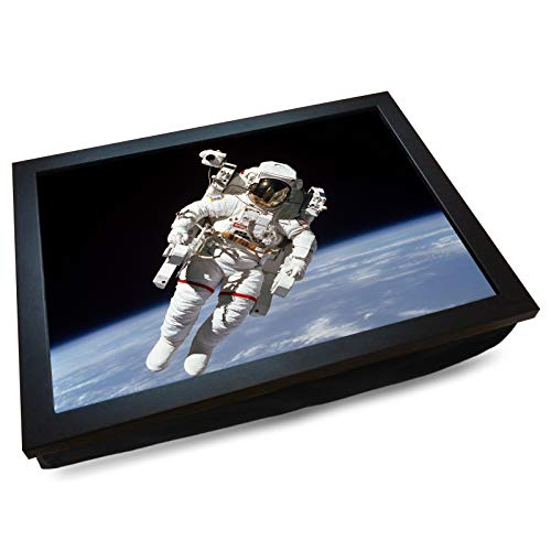 Deluxe Cushioned Lap Tray | Astronaut Space Walk | Wooden Frame | Bean Bag Cushion Base | #DM