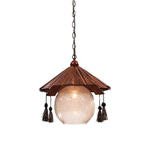 Chinese Planken Land Rustic Geometric Glazen Hanger plafondlamp met Houtwerk, Keuken Island Bedroom Living Room Bar