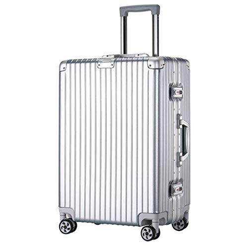 Men Women Trolley Suitcases, Right-angle Aluminum Frame Luggage Case, Universal Wheel Rod Cabin Case, TSA Code Lock Thickened Rod(Color:silver,Size: 24 inches)