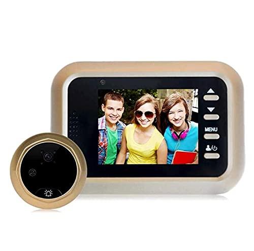 YQQQQ Video Timbre LCD Pantalla a Color Visor de Timbre Puerta Digital Mirilla Cámara Detección de Movimiento PIR Visión Nocturna IR (Color : Gold)
