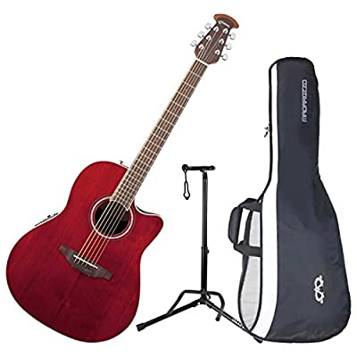 Ovation CS24-RR Celebrity Standard Mid-Depth Ruby Red Acoustic/Electric Guitar with Gig Bag and Stand