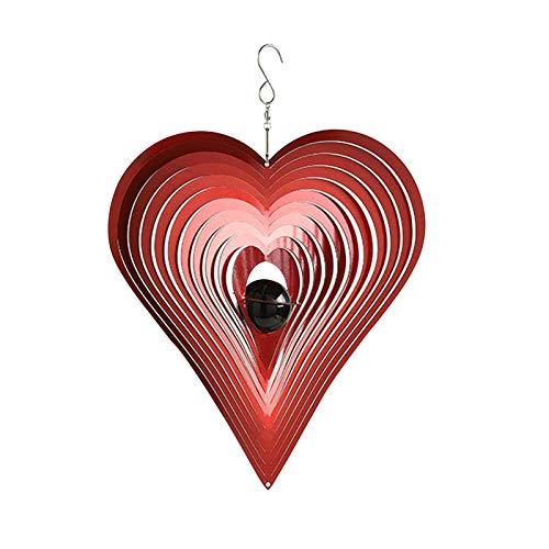 qiyifang Windspiel,Metall Windspiele, Wind Spinner Rotierend Rotierend Dekorative Liebe Herzform, Kreuzform, Hängend Einfache Installation, Raum Fenster & Garten-Dekoration Geschenkidee