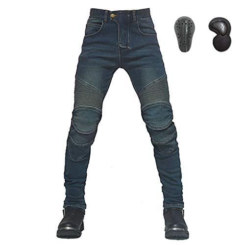 YFFS Pantalones De Moto Hombres Pantalones De Montar En Motocicleta Motocross Pantalones Vaqueros De Mezclilla Con Almohadillas Protectoras Equipo Pantalones (2,L)