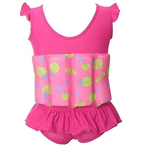 OMSLIFE für Kinder Baby Schwimmen Bojen-Badeanzug Bodycon Jumpsuit Bademode Schwimmhilfe mit entnehmbare Auftriebsbojen für Learn Swim (XL (3-5 Jahre), Rosa)