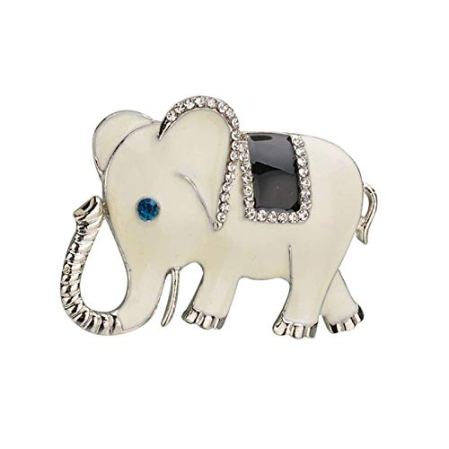Brooch Pins, Fashion Elephant Rhinestone Inlaid Brooch Pin Clothes Lapel Badge Jewelry Gift - White