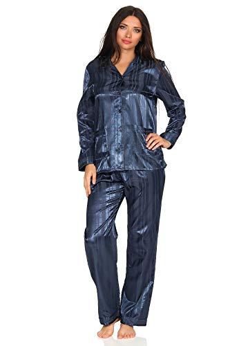 Normann Satin Pyjama Streifendessin - innen angeraut 251 201 94 010, Größe:44/46, Farbe:Marine