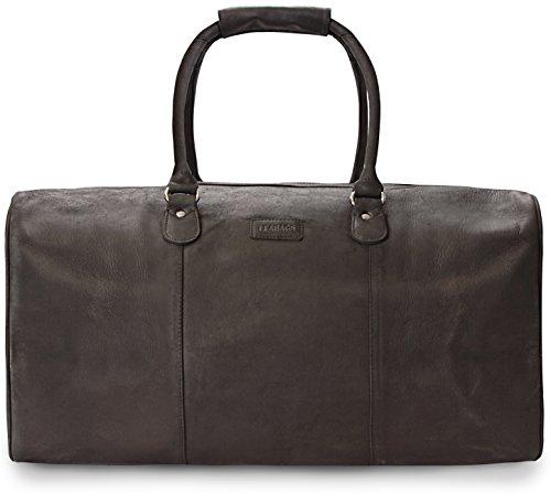 LEABAGS Tokio Reisetasche aus echtem Büffel-Leder im Vintage Look - Schwarz
