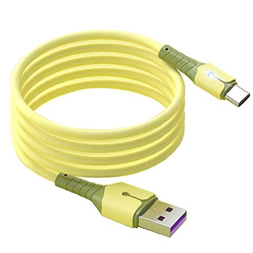 Tipo C Cavo di ricarica USB Silicone liquido 1M Micro Charger Cavo 5A Cavo di ricarica rapida Cavo di ricarica con indicatore luce per telefoni cellulari Cavo dati illuminato giallo