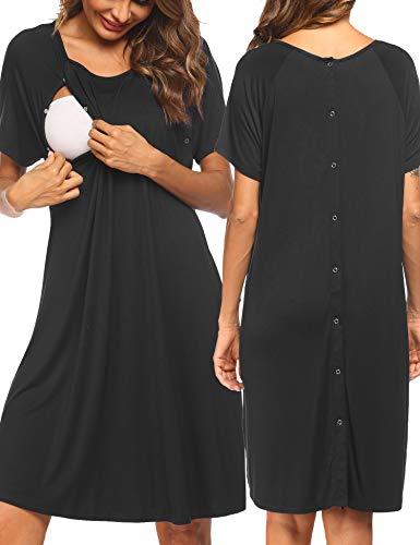 Pinspark Geburtshemd für Schwangere Nachthemd Damen Geburt Stillnachthemd Mutterschaft Schwangerschaft Nachtwäsche Umstandsmode mit Durchgehender Knopfleiste Schwarz XL