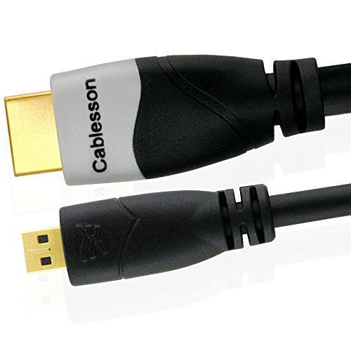 Ivuna 2m Micro (Typ D) HDMI Hochgeschwindigkeitskabel (v 1.4a / 2.0) Vergoldete Stecker 3D 1080p 4k um HD Geräte zu verbinden mit den Micro HDMI Stecker für Digital Kamera, Handys und Tablets.