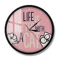 猫との生活はより良いインスピレーションを与える猫の引用現代の壁時計時計の女の子の部屋ピンクの壁の装飾猫の恋人新築祝いの贈り物-フレームなし