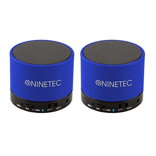 Set 2X NINETEC BeatBlaster Bluetooth Bass Speaker Micro SD AUX Freisprechfunktion Blau