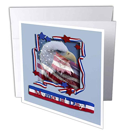 3dRose Memorial Day Patriotic Eagle - Greeting Cards, 6 x 6 inches, set of 12 (gc_16335_2)