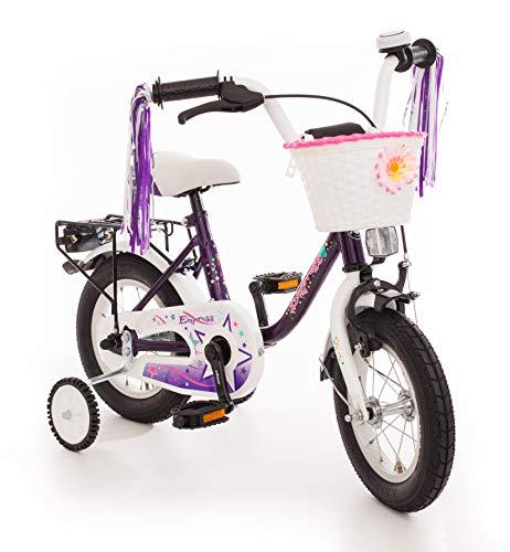 Empress Kinderfahrrad 12 Zoll Fahrrad für Kinder ab 3 Jahre Mädchen Kinderrad Mädchenfahrrad Lila mit Rücktrittbremse und Stützrädern