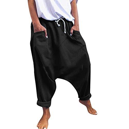 Keepmore Pantaloni da Uomo Unisex da Donna in Cotone Harem Yoga Larghi Hip-Hop con Apertura sul Cavallo Pantaloni con Tasche S - XXXL