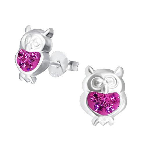 Laimons Mädchen Kids Kinder-Ohrstecker Ohrringe Kinderschmuck Eule Vogel Kauz Tier Glitzer pink aus Sterling Silber 925