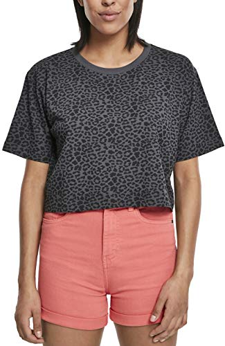 Urban Classics Ladies Short Oversized AOP tee Camiseta, Multicolor (Dark Grey Leo 02100), 4XL para Mujer