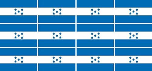 Mini Aufkleber Set - Pack glatt - 50x31mm - Sticker - Fahne - Honduras - Flagge - Banner - Standarte fürs Auto, Büro, zu Hause und die Schule - 12 Stück